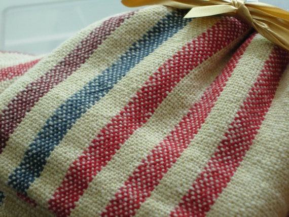 Handwoven Cotton Towel Red, Blue and Maroon striped 100% Cotton 19 x 29.5 inches