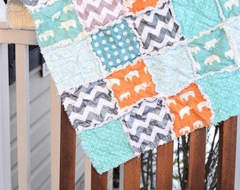 Baby Rag Quilt- Ready to ship Rag Quilt, baby shower gift, elephant rag quilt, gender neutral rag quilt, orange rag quilt, blue rag quilt