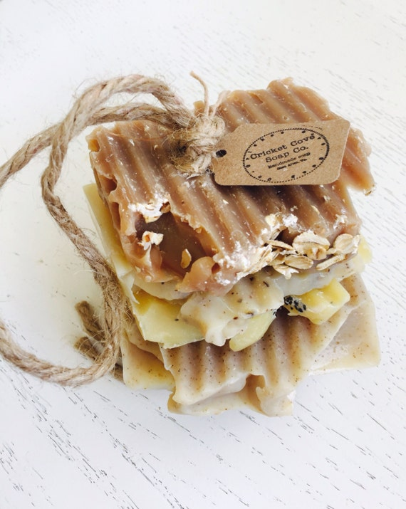 Soap on a Rope - Variety Handmade Soap Stack  - Soap Set -  Handmade Soap - natural jute - gift for him