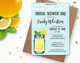 Bridal Shower BBQ Invitation, Lemonade Bridal Shower Invitation, Bridal Shower Invitation, Wedding Shower Invitation, Bridal Brunch Invite.