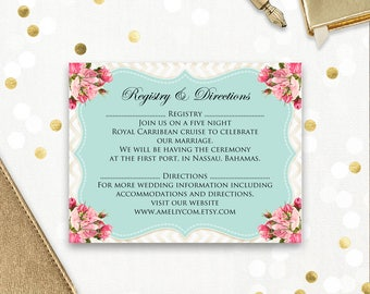 Information cards / Direction cards Printable - Info Card - Accommodation Rustic Teal & Pink Roses - Botanical digital Download EDITABLE PDF