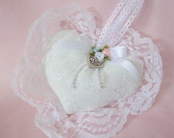 Mom Charm Pillow, Mom Birthday Gift, Heart Lace Pillow, Pillow Ornament, Cottage Chic Decor, Hanging Heart, White Pillow