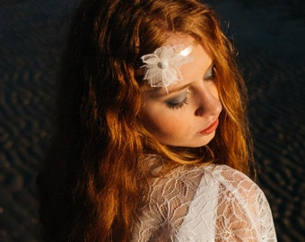 Leather Headband with a delicate lace flower - Celia
