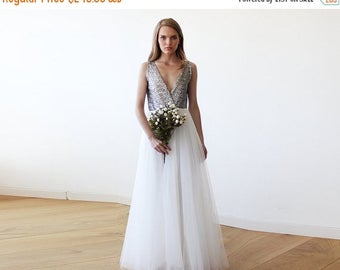 Spring Sale Silver sequins bridal tulle gown, Tulle and sequins wedding gown 1094
