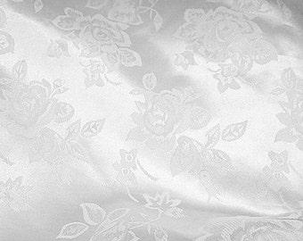Brocade Jacquard Satin White 60 Inch Fabric by the Yard - 1 yard