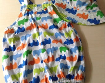 Baby boy/girl two piece set - size 1  12 months  Rhino print perfect for summer / spring with t shirt   - handmade and 100% cotton
