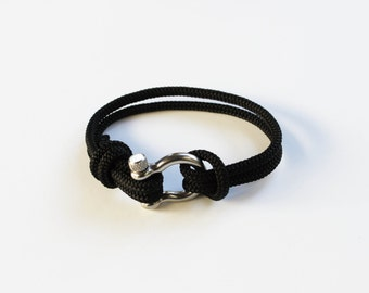 Bow Shackle Nautical Bracelet - Black