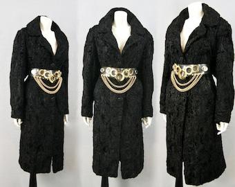 Vintage Glossy Black Real Swakara Broadtail Karakul Astrakhan Fur Coat