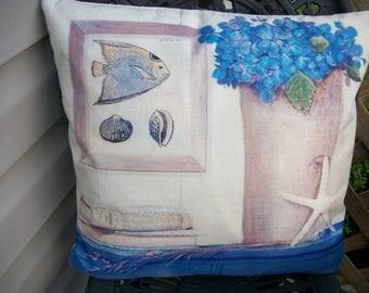 Summer Beach Nautical  Pillow Cover, 18 x 18  Pillow Cover Printed, Sea Grass, Star Fish, Fish Shells Beach  Blue Home Accents Decor