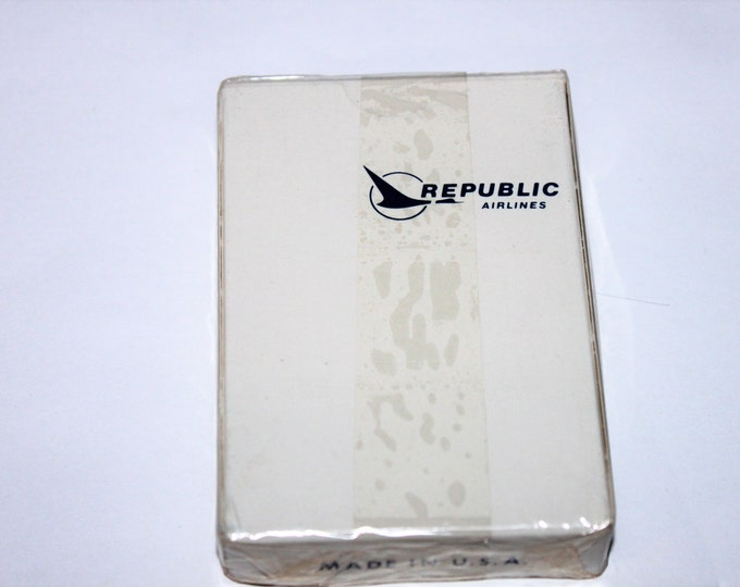 Vintage 1980s Set of Mid-Century Modern Sealed Republic Airlines Playing Cards
