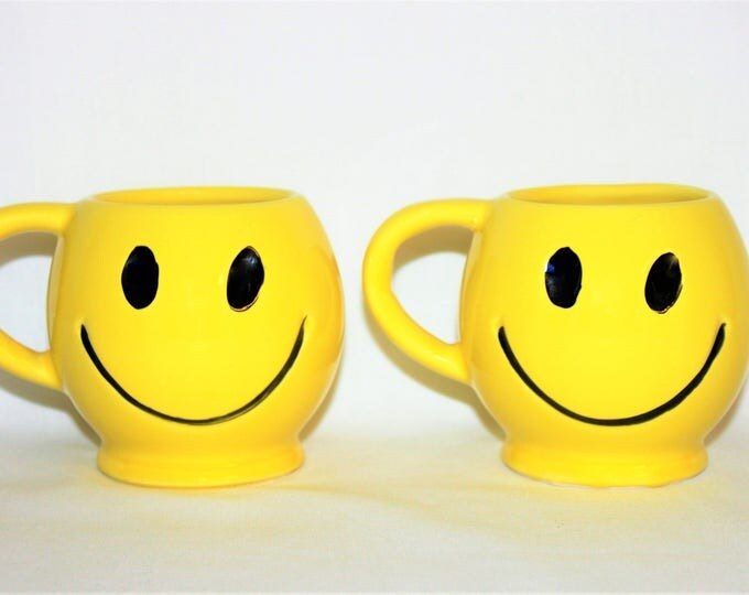 Vintage Pair of 1970s Sunshine Yellow McCoy Pottery Smiley Face Mugs, Smile, Happy Face