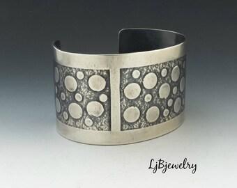 Silver Cuff, Silver Bracelet, Statement Cuff, Metalsmith, Metalwork, Handmade, Artisan Jewelry