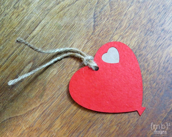 Balloon Tag: Red Heart Balloon Hang Tags / Gift Tag / Favor Tag From