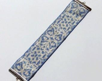 Beadwoven Bracelet Beadwork Bracelet Loom Bead Bracelet Blue White Cuff Bead Woven Bracelet Loom Beaded Cuff Blue Beaded Bracelet