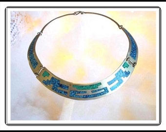 Mexico Sterling Silver Collar Necklace - Southwestern Vintage Inlaid Turqoise Henged Panels -  Neck-1076a-020417025