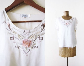 Chinese Silk Shirt / Silk Embroidered Shirt / Ivory White Blush Floral Embroidered Blouse S M