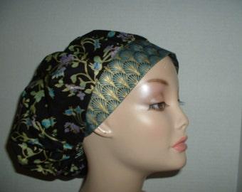 Cleopatra Blue Emerald Black Gold Bouffant OR Scrub Hat