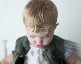 Glitter Bow Headband Nylon Headband