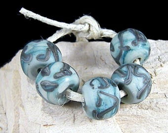 Handmade Lampwork Beads~Organic Nugget Rounds~ Etched Gray Turquoise ~Lampwork Beads