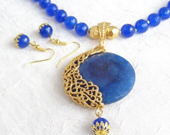 Blue Agate Jewelry Sets,Gold Necklace,Turkish Jewelry,Gold Frame Pendant,Stone Jewelry,Wedding Gifts,Gifts for Her,Mother's Day Gifts