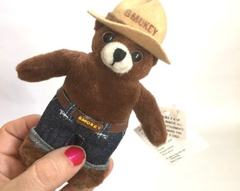 Vintage SMOKEY The BEAR Keychain / 90s Plush Bear Keychain / New With Tags