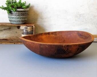 Vintage wooden dough bowl, farmhouse bowl, rustic wood bowl, salad bowl, cottage chic decor