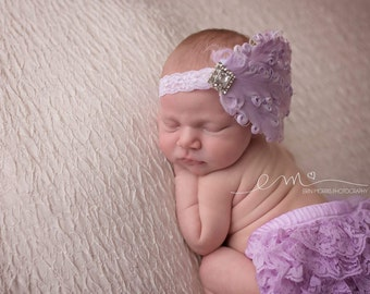 Feather headband, lavender feather headband, lavender headband, newborn headband, newborn photo prop, newborn photography prop, lavender