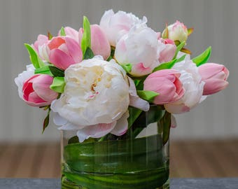 Large Finest Silk White Peony with Real Touch Pink Tulips in Round Glass Vase Artificial Faux Arrangement for Home Decor