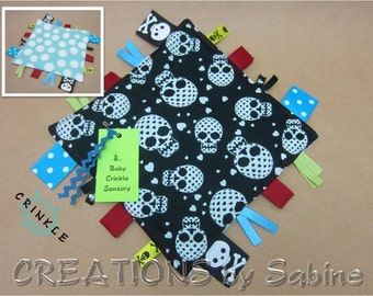 Skull Baby Crinkle Tag Blanket, Toy Sensory Lovie Ribbon Blankie Boy Baby Blue Black Red Green Skulls Pirate Polka Dots READY TO SHIP (271)