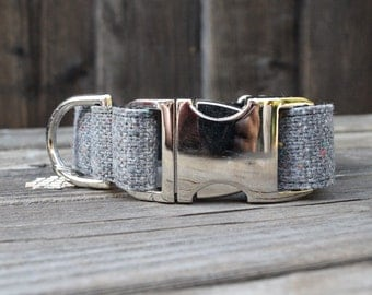 Modern Burlap Dog Collar - Gray with Colored Confetti, Adjustable with Metal Buckle