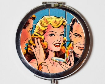 Comic Book Compact Mirror - Vintage 1950s Comic Book Art Retro - Make Up Pocket Mirror for Cosmetics