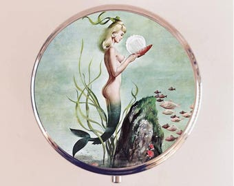 Retro Mermaid Pill Box Case Pillbox Holder Trinket Stash Box 1950s Nautical Siren Pin Up