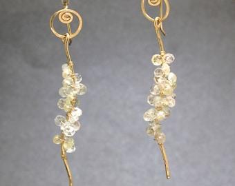Hammered swirl long stick gemstone earrings Luxe Bijoux 277