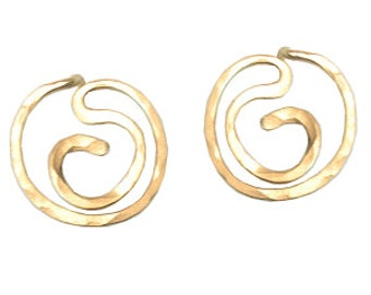 Post Swirl Circle Earrings, 14k gold filled, sterling silver, 14k rose gold filled