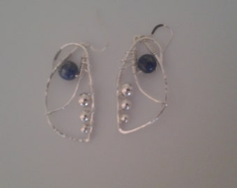 Wire wrapped Lapis Earrings