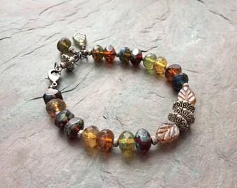 "Czech Glass Bead Bracelet / One-of-a-Kind / Jewel Tone Beads / Antique Silver Beads / Czech Glass Leaf Beads / Charms -  7 1/2"" long - B17"