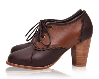 SALE. Sz. 6.5. DANTELLA. Leather oxfords / brown leather shoes  / oxford booties / oxford heels.