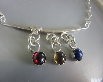 Silver Lapis Citrine Garnet Necklace with fly