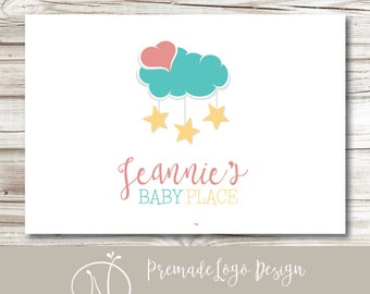 Premade Baby Logo - Cloud Heart Star Mobile Baby Shop Premade Logo Design - Baby Products Logo