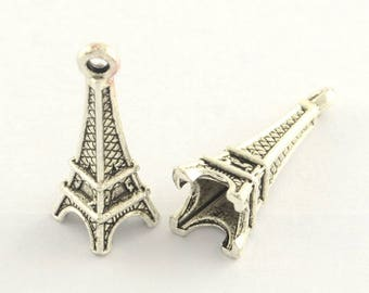Eiffel Tower Charms, Antique Silver, 24mm - 10 pcs - eTC044-AS