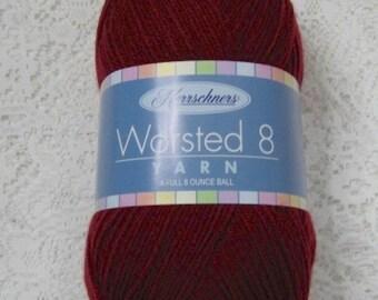 Yarn destash  – 8 ounces – burgundy yarn – Herrschner's 4 ply Worsted Yarn