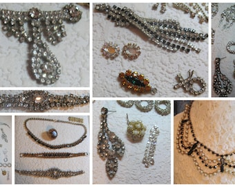 Up Cycle  Rare Vintage Rhinestone Repair Necklace Bracelet Settings Pendant Charms Parts LOT Assemble Collage