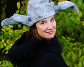 Wet Felted Hat, Monglian Inspired Hat, Wizard Hat, Cosplay Hat