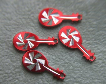 Vintage Red Guitar Diamond Cut Charms / Pendants x 4 # LL 4