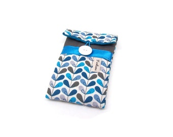 phone case grey and blue leaves,padded sleeve for phone in graphic fabric,women's iphone case