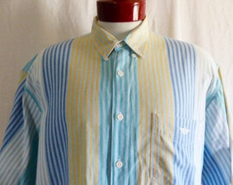 vintage 80's 90's Levi's Dockers pastel rainbow blue green white vertical stripe woven button up collar shirt short sleeve oversized large