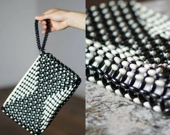 Vintage Black and White Clutch / 1930s-40s Czech Beaded Purse / Wooden Beads Purse / Art Deco Purse / Made in Czechoslovakia / Wristlet