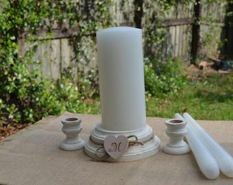 WEDDING Unity Candle Holder Set Ceremony Set Rustic Wood Unity Candle Holders Shabby Chic Wedding Decor Vintage Distressed Monogram Hearts