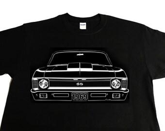 Car Grille Art Tee shirt, T-Shirt, 1969 Chevy Nova SS Cowl Hood.