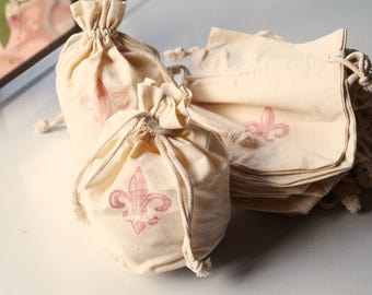 GIFT Bags - Cotton Fabric (muslin) Drawstring with Pink Fleur de Lis - lot of 21